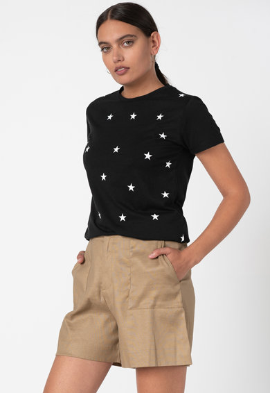 Trendyol Tricou cu decolteu la baza gatului si imprimeu grafic Femei