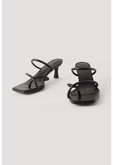 NA-KD Papuci din piele ecologica, cu toc si bretele multiple Miss Lisibell Femei