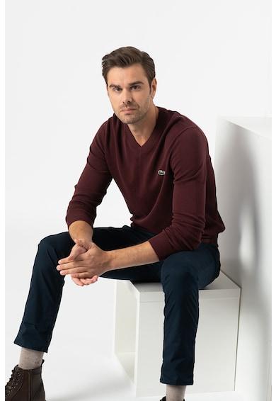 Lacoste Normál fazonú V-nyakú organikuspamut pulóver férfi