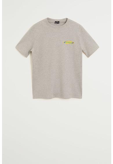 Mango Памучна тениска Embro с надписи Мъже