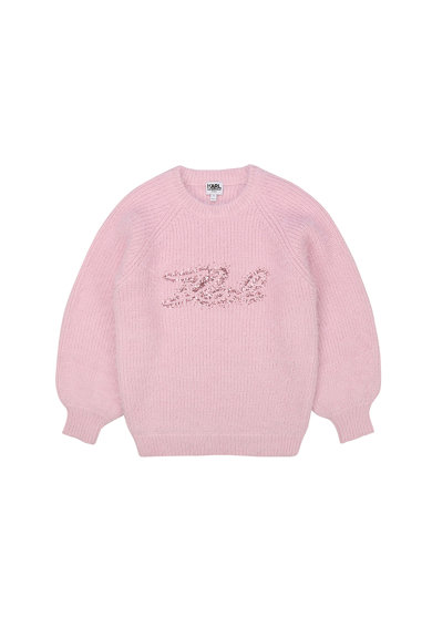 Karl Lagerfeld Pulover tricotat cu logo din paiete Fete