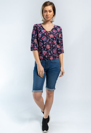 Kenvelo Bluza cu model floral si maneci 3/4 Femei