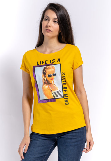Kenvelo Tricou cu imprimeu text si grafic Femei