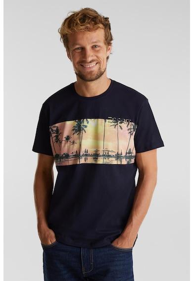 Esprit Szűk fazonú mintás organikuspamut póló férfi