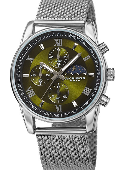 AKRIBOS XXIV Ceas cronograf cu bratara cu model plasa Barbati