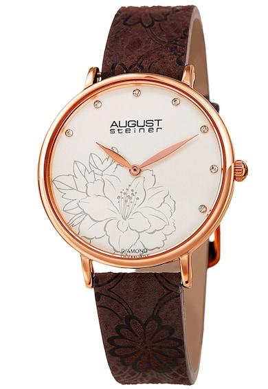 August Steiner Ceas analog decorat cu diamante si motive florale Femei