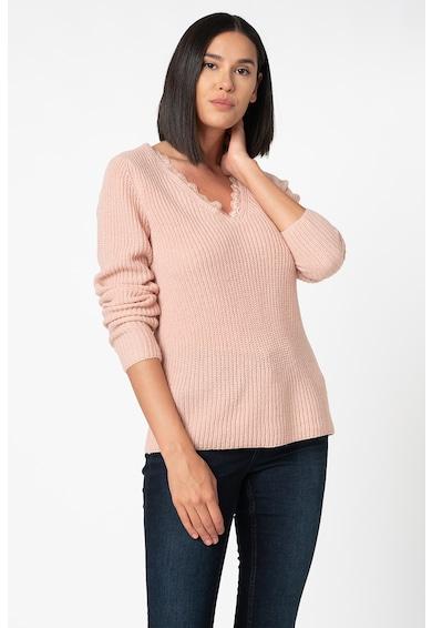 Vila Oa V-nyakú pulóver csipkeszegélyekkel női