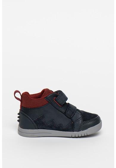 Clarks Pantofi sport de piele ecologica cu garnituri de piele intoarsa Rex Park Fete