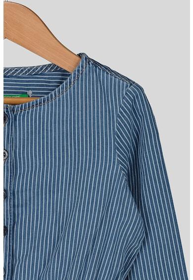 United Colors of Benetton Rochie din denim, cu dungi si snur Fete