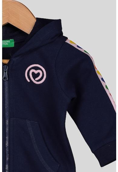 United Colors of Benetton Cipzáros pulóver kapucnival és hímzett részletekkel Lány