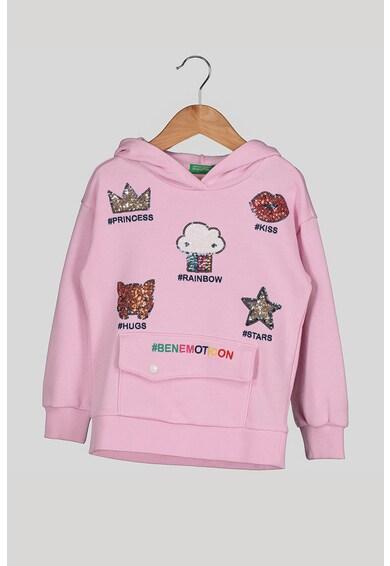 United Colors of Benetton Kapucnis pulóver flitteres rátétekkel Lány