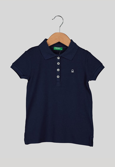 United Colors of Benetton Tricou polo din material pique cu logo discret brodat Fete