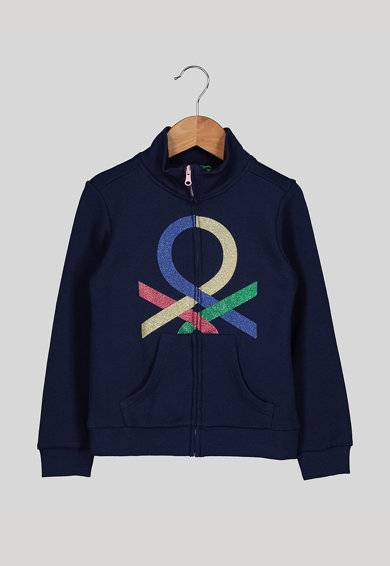 United Colors of Benetton Bluza sport cu fermoar si imprimeu logo stralucitor Fete