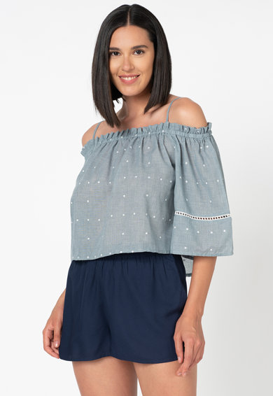 Undercolors of Benetton Top lejer din chambray cu decupaj pe umar Femei