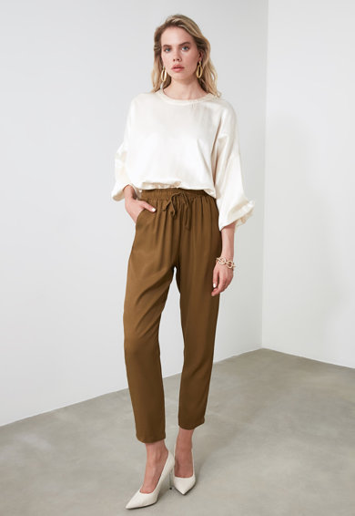 Trendyol Lyocell nadrág magasított derékrésszel női