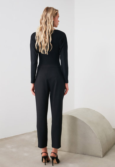 Trendyol Pantaloni crop cu talie medie Femei