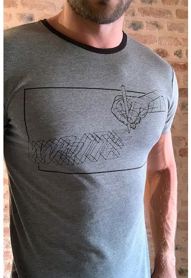 Trendyol Tricou cu decolteu la baza gatului si imprimeu grafic Barbati