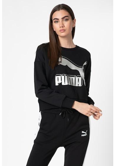 Puma Bluza sport cu decolteu la baza gatului si logo metalic Classics Femei