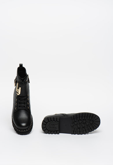 Liu Jo Кожени ботуши с метално лого Жени