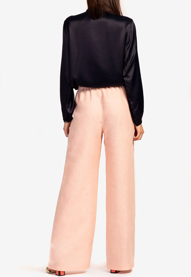 Acob à porter Pantaloni palazzo din catifea de matase cu talie elastica Femei