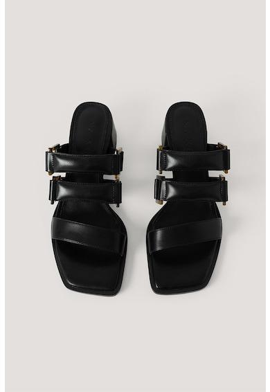 NA-KD Papuci de piele ecologica, cu toc masiv Femei