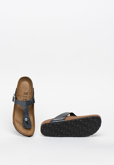 Birkenstock Papuci flip-flop cu aspect stralucitor si catarama Gizeh Femei