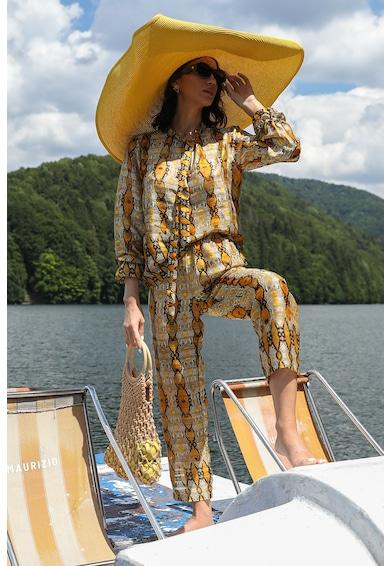 MIAU by Clara Rotescu Selyemtartalmú felső és crop nadrág szett absztrakt mintával női