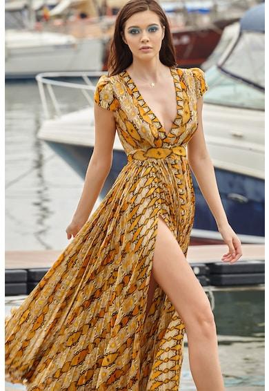 MIAU by Clara Rotescu Rochie maxi din amestec de matase, cu model Sommerset Femei
