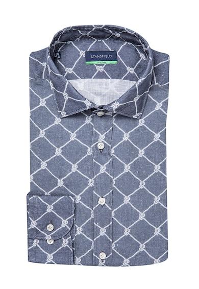 Stansfield Kényelmes fazonú lenvászon ing csirkeháló mintával férfi