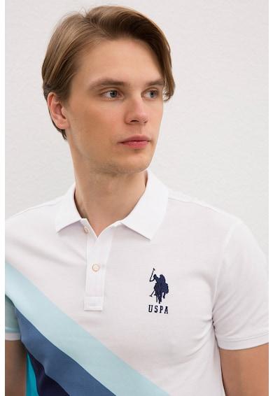 U.S. Polo Assn. Tricou polo slim fit cu model colorblock Barbati