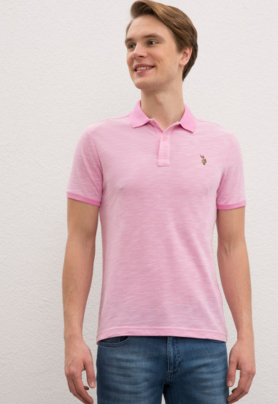 U.S. Polo Assn. Тениска по тялото с лого и яка 2 Мъже