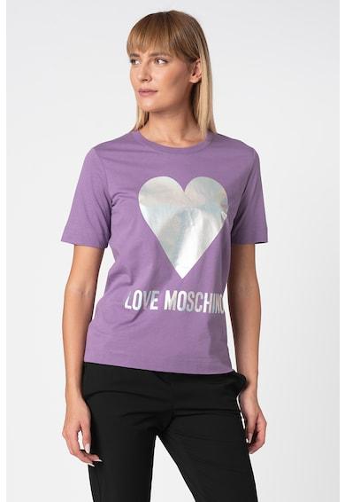 Love Moschino Тениска с бляскав сърцевиден дизайн Жени