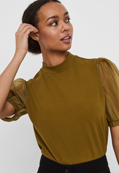 Vero Moda Bluza cu maneci bufante de plasa Femei