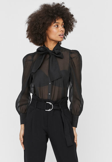 Vero Moda Camasa transparenta cu maneci bufante Briana Femei