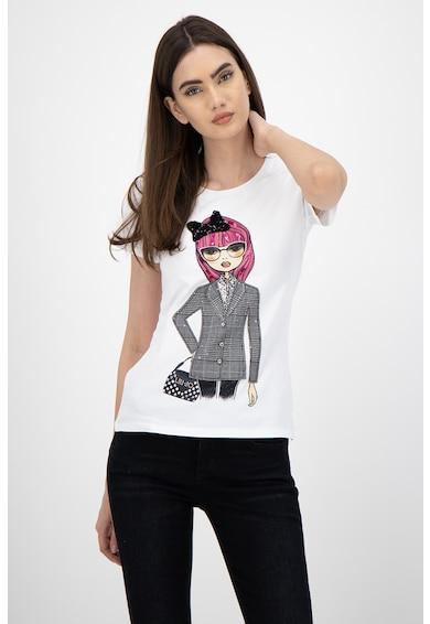 Liu Jo Тениска с фигурална щампа и декоративни камъни Жени