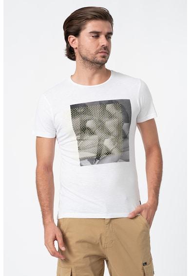 BLEND Тениска с овално деколте и фотопринт Мъже