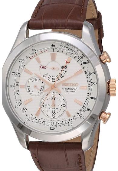 Seiko Ceas cronograf cu o curea cu aspect de piele de crocodil Barbati