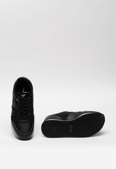 Emporio Armani Pantofi sport de piele si piele ecologica cu insertii de plasa Femei