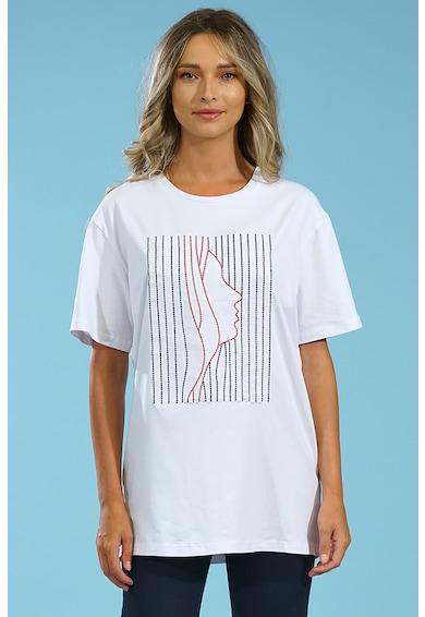 Format Lady Tricou cu decolteu la baza gatului si model cusut Femei