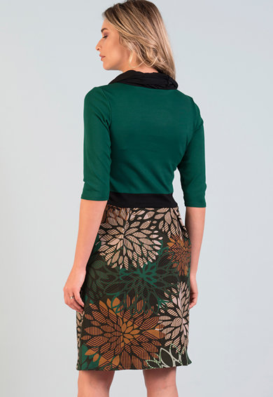 Format Lady ROchie cu decolteu drapat si model floral Femei