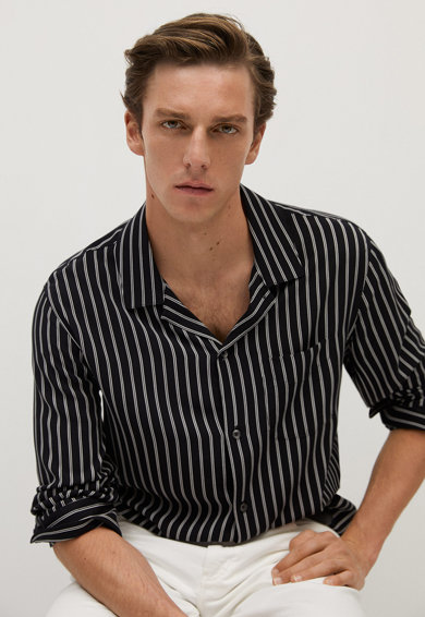 Mango Раирана риза със стандартна кройка Мъже