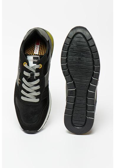 s.Oliver Pantofi sport de piele ecologica cu insertii de piele intoarsa ecologica Barbati