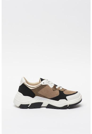 s.Oliver Pantofi sport din piele intoarsa ecologica cu aspect masiv si detalii contrastante Femei