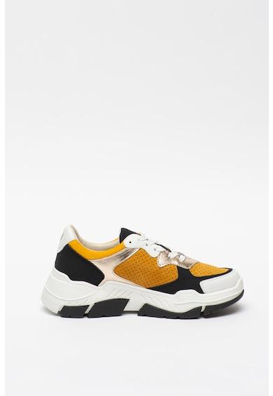 s.Oliver Pantofi sport din piele intoarsa ecologica cu aspect masiv si detalii metalizate Femei