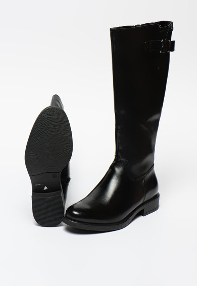 s.Oliver Cizme lungi pana la genunchi de piele cu fermoar si garnituri de piele ecologica Femei