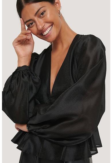 NA-KD Bluza cu aspect de satin si maneci bufante Femei
