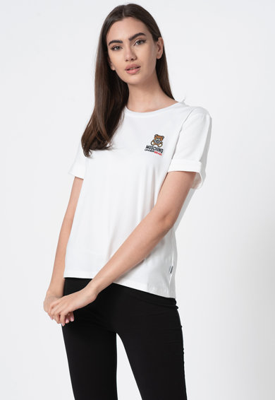 Moschino Tricou de casa cu decolteu la baza gatului si broderie logo Femei