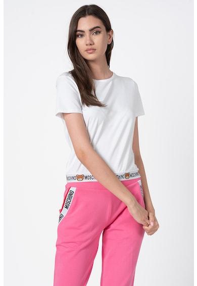 Moschino Tricou de casa cu decolteu la baza gatului si terminatie logo Femei