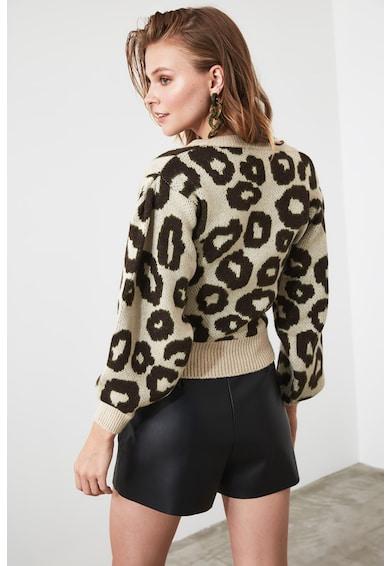 Trendyol Пуловер с фина плетка и щампа Жени