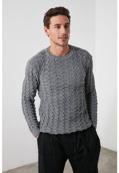 Trendyol Пуловер с овално деколте и плетка осморка Мъже